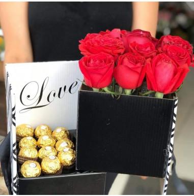 Surpresa de Rosas com Ferrero Rocher - Ref. FDM009