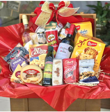 Baú natalino vinhos e queijos - Ref. FN2020